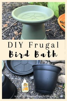 Bird Bath Fountain, Bird Bath Garden, Diy Bird Bath, Bird Bath Planter, Garden Art, Plastic Bird Bath, Plastic Flower Pots, Easy Garden, Lawn And Garden
