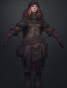 f Rogue Thief This outfit definitely looks warm. Much more functional than the outfits seen on most female fantasy characters. Fantasy Scout, Fantasy Armor, High Fantasy, Medieval Fantasy, Character Design Cartoon, Character Art, Character Concept, Concept Art, Fantasy Inspiration
