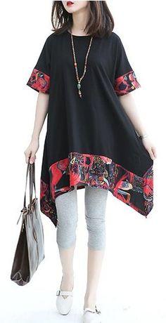 Women loose fit plus size ethnic tribal flower patchwork dress shirt asymmetric Stylish Dresses For Girls, Stylish Dress Designs, Designs For Dresses, Pakistani Dresses Casual, Pakistani Dress Design, Frock Design, Dress Shirts For Women, Blouses For Women, Frock Fashion