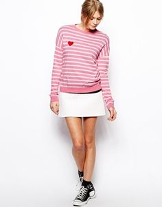 Enlarge ASOS Sweater in Stripe with Heart Patch