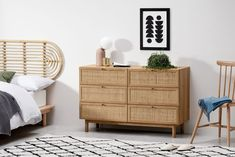 Pavia Natural Rattan and Oak Effect Wide Chest of Drawers, £399 from Made.com UK (Affiliate Partner) Bespoke Furniture, Retro Furniture, Unique Furniture, Contemporary Furniture, Hallway Furniture, Home Office Furniture, Living Room Furniture, Bedroom Dressers, Dresser As Nightstand