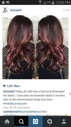 Stunning hair colour. Brown with rose and caramel tones. #hairbylarisalove #musthave