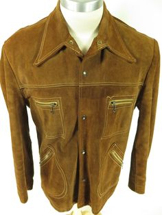 Vintage | 50s Skalar Western style chain zip pockets wide spread collar men's jacket. Find more men's and women's authentic vintage clothing at The Clothing Vault. #vintage #clothing