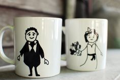 Couple Mug  for Bride and Groom   Coffee cup  Tea by CharmAmulet, $25.00