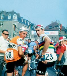 Eddy Merckx and Jacques Anquetil as seen by everyone else in the peloton.