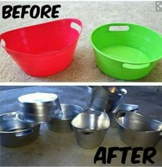 Love this idea! Much cheaper than buying real metal pails. Buy these at the dollar store.