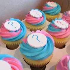 cute cupcakes for gender reveal parties Pregnancy Gender Reveal, Baby Gender Reveal Party, Gender Party, Baby Reveal Cupcakes, Baby Cupcake, Baby Shower Sweets, Baby Shower Cupcakes, Reveal Parties, New Baby Products