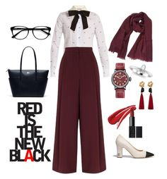 """sexy red in busy day"" by putridyacitranur on Polyvore featuring Gucci, River Island, Chanel, Salvatore Ferragamo, Zenith, MANGO, Lacoste and EyeBuyDirect.com"