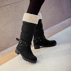 Women's Shoes Round Toe Chunky Heel Mid-Calf Boots with Buckle More Colors available – USD $ 32.99