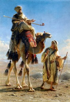 The sheikh and his guide, 1875 - by Carl Haag