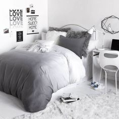 Grey Ombre Duvet Cover and Sham Set Room Grey Room, Gray Bedroom, Bedroom Small, Master Bedrooms, Small Rooms, Master Suite, Grey And White Room, Men Bedroom, Tiny Bedrooms