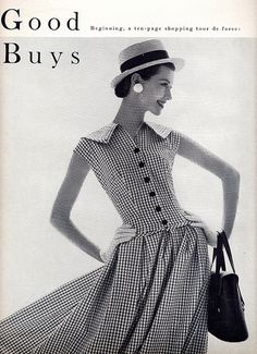 ...the collar and the dropped waist... June Vogue 1955