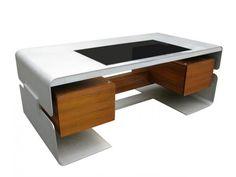 """Seman, grand bureau de ministre « Galaxie », palissandre et aluminium plié, 1973 mis en vente lors de la vente """"Art Déco, Art Nouveau, Design"""" à Etude Milliarède"""