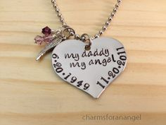 Hand Stamped Necklace Memory Jewelry Angels Wing Your Angels Name Birthdate Death date Personalized My For You Forever In My Heart   $22.75  CharmsForAnAngel - Craft Cafe