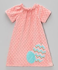 Love this Coral Chevron Easter Egg Minky Dress - Infant, Toddler & Girls by Lolly Gags on #zulily! #zulilyfinds