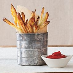 From-Scratch Oven Fries |   These homemade fries are better than the drive-through. Because they are oven-baked, the fries have less fat and calories, and there is no oily mess to clean up.  Dip in ketchup, Blue Cheese Dip, or Easy Marinara Sauce.