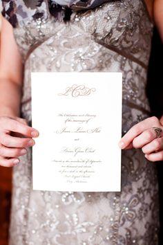 laid paper, offset press, folded program, cover mimics wedding invitation