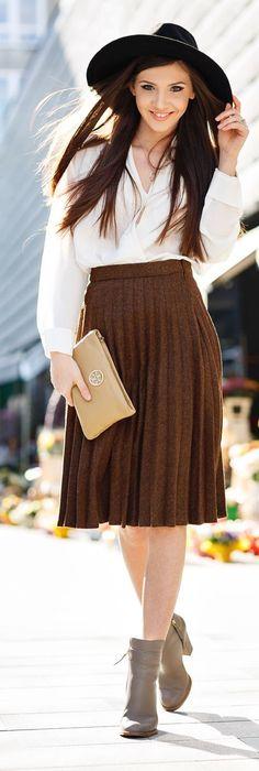 Brown Pleats Inspiration Skirt