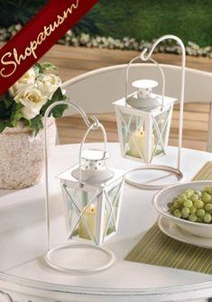 Small Distressed White Lantern, Shabby Candle Lantern, Vintage ...