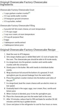 restaurant recipes 38 Ideas Cheese Cake Recipes Plain Sour Cream For 2019 The Cheesecake Factory, Cheesecake Crust, Plain Cheesecake, Cheesecake Factory Strawberry Cheesecake Recipe, Cheesecake Factory Original Recipe, Cheesecake Factory Birthday Cake, Strawberry Cheesecake Recipe Easy, Lemon Cheesecake Recipes, Homemade Cheesecake