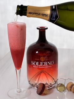 Solerno Prosecco Cocktail. 1 oz blood orange juice, 2 oz Solerno Blood Orange liqueur, 3oz champagne .  Shake the liqueur and OJ in a cocktail shaker with ice. Fine strain into a Champagne flute with champagne