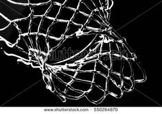 Empty Swooshing Basketball Net Close Up with Dark Background in Black and White