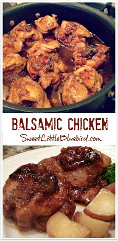 BALSAMIC CHICKEN - This recipe is a keeper! With just a few ingredients and around 30 minutes to make, it's a meal for all ages and is absolutely delicious! | SweetLittleBluebird.com