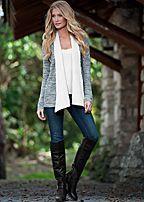 Women's Marled sweater cardigan, cami by VENUS