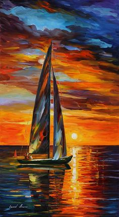 Sailing With The Sun Painting by Leonid Afremov - Sailing With The Sun Fine Art Prints and Posters for Sale