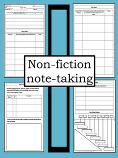 4-page non-fiction note-taking template for middle and high school students. When Cornell notes just aren't cutting it!
