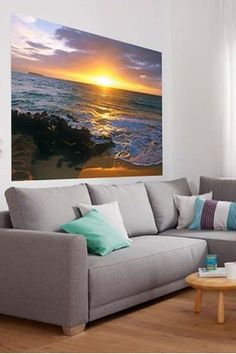 an amazing mural for your living room-adds a pop of color to the room