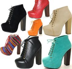 Sexy Super Star Lace Up Ankle Booties Thick Chunky Platform High Heel Boots Shoe