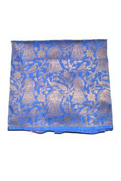 Denim Blue Brocade Silk Embroidered Fabric
