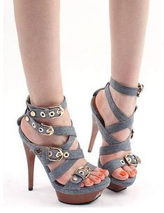 STYLE & FIT Sexy Denim Platform Sandals . sexy#shoes #heels #fashion