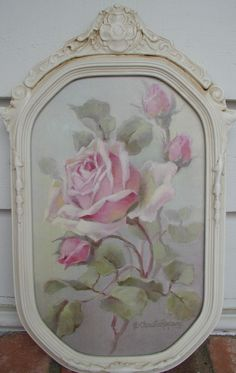 """""""Pink Delight"""" in a antique frame C.Repasy Could recreate with scrapbook paper, mod podge, old frame, cream or white paint"""