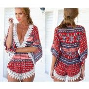 Nextshe Women Fashion Half Sleeve Bohemian Style Jumpsuit Red Print Sexy Chiffon Short Romper with Lace Applique S~XL Size-in Jumpsuits Short Jumpsuits For Women, Rompers Women, Women's Rompers, Boho Fashion, Fashion Tips, Fashion Design, Fashion Trends, Beach Fashion, Fashion Styles