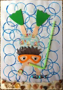 This fun snorkeler is made with paper, paint, craft foam, a straw, and more. It's a wonderful mixed media project …