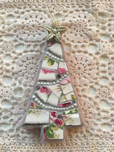 Mosaic pink and gold Christmas tree ornament