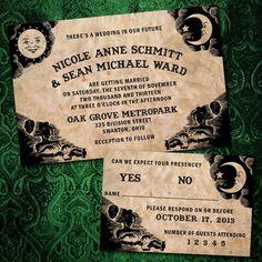 Halloween wedding invites ! Want want want Kyle would lovvveeeeeeee this! Gothic Wedding, Invitations, Cover, Books, Art, Livros, Kunst, Slipcovers, Livres