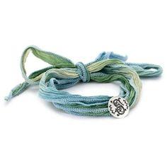 "Mizuki Silver Monogram Letter ""S"" Button on Ombre Silk Bracelet: Jewelry: Amazon.com"