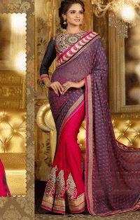 Beautiful Red Color Sari cheap Rates Crazy Fashion Deal.com