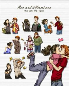 Ron and Hermione Anime  Ron and Hermione Through the Years