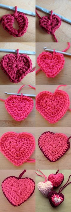 Crochet heart decorations – free pattern from Make My Day Creative Crochet Crafts, Cœurs Au Crochet, Crochet Coeur, Appliques Au Crochet, Fleur Crochet, Love Crochet, Crochet Stitches, Crochet Patterns, Hanging Hearts