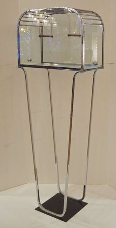 Art Deco Glass and Chrome Birdcage. One hopes this was for decoration only and not used as an actual birdcage. Art Deco Period, Art Deco Era, Bauhaus, Art Nouveau, Art Deco Furniture, Antique Furniture, Modern Furniture, Furniture Design, Estilo Art Deco