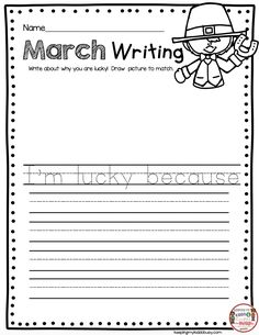 LUCKY writing prompt - St Patrick's Day reading and literacy ideas - printables and worksheets for kindergarten and first grade centers for the month of March - print FREE resources and worksheets to Kindergarten Writing Prompts, Kindergarten Lesson Plans, Writing Worksheets, Writing Workshop, Teaching Kindergarten, Teaching Writing, Kindergarten Worksheets, Writing Activities, Preschool