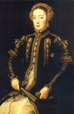 A portrait of Maria, Infanta of Portugal. By Anthonis Mor, 1552. Maria was the daughter of King Juan III of Portugal and his wife, Catherine of Austria.