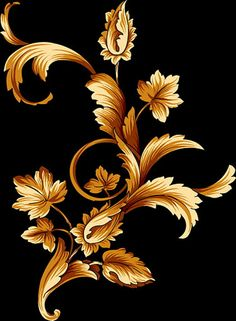 Mis Laminas para Decoupage (pág. 310) | Aprender manualidades es facilisimo.com Motif Arabesque, Norwegian Rosemaling, Baroque Pattern, Batik Art, Gold Work, Flower Wallpaper, Pyrography, Fabric Painting, Flower Art