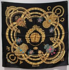 Hermes Kosima Silk Scarf C1994 Scarves & Wraps $455  ~ (my goodness, the least they could do is press them to photograph) this vintage one is gorgeous