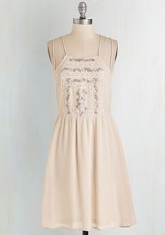 Blues Fest Beauty Dress. Sway to the saxophones in this exquisitely embellished sundress! #cream #modcloth