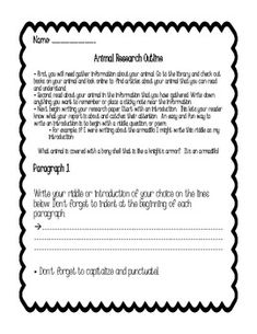 This outline is a great way to help your students stay organized while writing an animal report. The outline is split into 5 paragraphs and clearly states what should be written in each paragraph. Check it out for free! Please let me know if you have any questions!